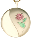 L1040 gold round locket with flower