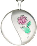 sterling round locket with flower