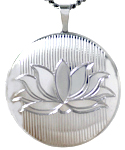 L1061 22mm round lotus flower locket