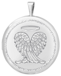 L1066 sterling wings with halo round locket