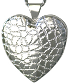 L6004 sterling reptile large heart locket