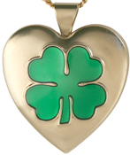 gold 4 leafe clover heart locket
