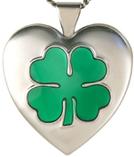 L6006 embossed 4 leafe clover heart locket
