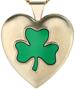 embossed shamrock 25mm heart locket