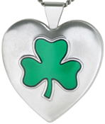 L6007 embossed shamrock heart locket
