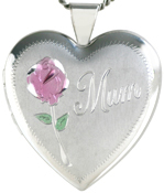 Mum heart locket with rose