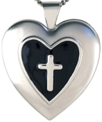 embossed heart cross locket with color