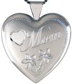 sterling mom with flowers 25mm heart locket