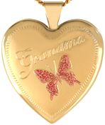 L6014 grandma with butterflies heart locket