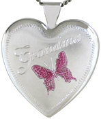 sterling grandma with butterfly 25mm heart locket