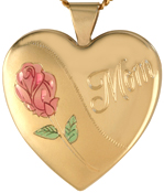 L6015 Mum with Rose 25mm heart locket