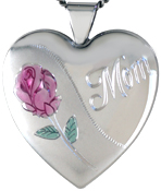 L6015 Mum Rose 25 heart locket