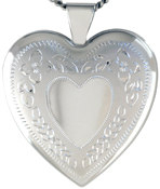 sterling heart locket with flowers
