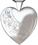 L6019 25mm heart locket with swirl design