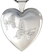 sterling heart locket with butterflies