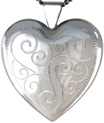 sterling 25 heart locket with scrolls