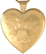 L6024 ornate flower heart locket