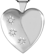 sterling 25 heart locket with 3 stones