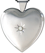 L6027 25mm heart locket with stone