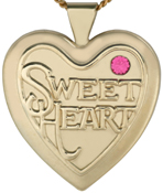 L6028 25mm heart locket with sweetheart stone