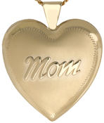 L6033 embossed MOM heart locket