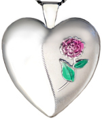 L6034 embossed flower 25mm heart locket