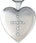 L6035 cross with stones 25 heart locket