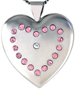 L6036 19 stones on 25 heart locket