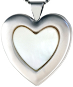 L6037 25 heart locket with mother of pearl stone