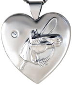 L6038 embossed horse locket with stone