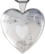 L6047 3 butterflies heart locket