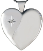 L6048D 25mm heart locket with diamond