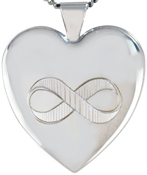 L6054 25mm heart locket with infinity symbol