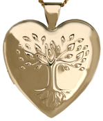 25 heart locket embossed tree of life
