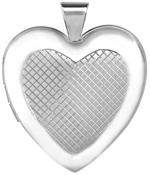 sterling grid 25mm heart locket