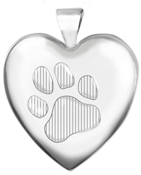 L6059 large heart locket with paw