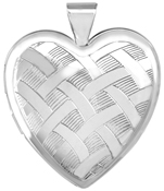 L6060 sterling silver weave large heart locket