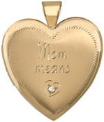 L6061 25mm heart mom locket with diamond