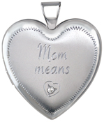 L6061 mom diamond heart locket