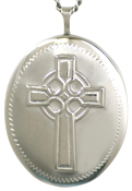sterling 25 oval celtic cross locket