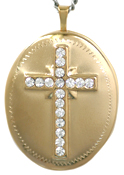 L9002 embossed cross with stones locket