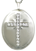 sterling 25 oval cross with 17 stones