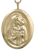 25 oval locket with mother and child