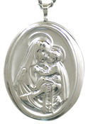 sterling embossed mother and child oval locket
