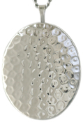 L9008 sterling hammered oval locket
