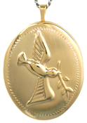 L9009 25 oval embossed dove locket