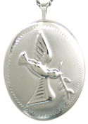 sterling 25 oval embossed dove locket