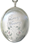 sterling large oval loving memory locket
