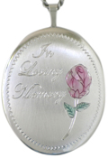 sterling 25 oval loving memory with rose locket