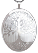 sterling 25mm oval tree of life locket